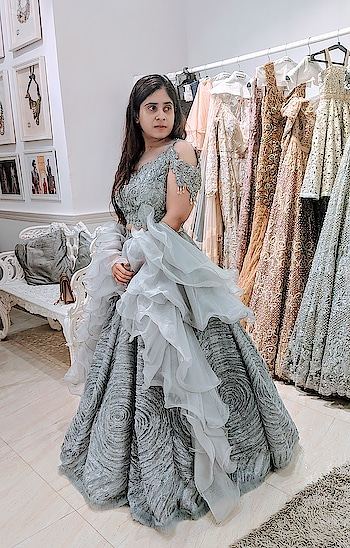 Textures meet ruffles in #meshbynityabajaj  Gorgeous bride-to-be, Sheena in custom #labelnityabajaj steel ruffle lehenga for her fittings @labelnityabajaj  We can't wait to see her final look❤️ #labelnityabajaj #grey #lehenga #happyclients #happyfittings #labelnityabajaj #NityaBajaj #studionityabajaj #steel #ClientDiaries #stylefile #fittings #shahpurjat #mesh #autumnwinterfestive2018
