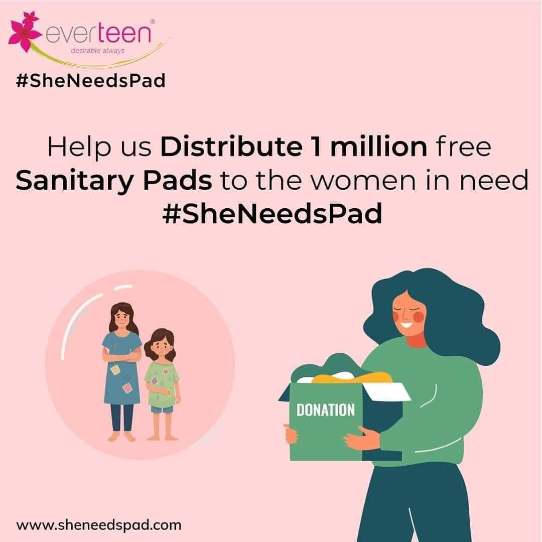 Help us distribute 1 million free sanitary pads to the women in need. #SheNeedsPad www.sheneedspad.com . . . #sheneedspad #sheneedspads #menstrualcup #menstrualhygiene #donate #donatepads #donation #hygine  @akshaykumar @manushi_chhillar @ranveersingh @sonamkapoor @aslisona @aliaabhatt @virat.kohli @anushkasharma @karanveermehra @iamsrk @beingsalmankhan
