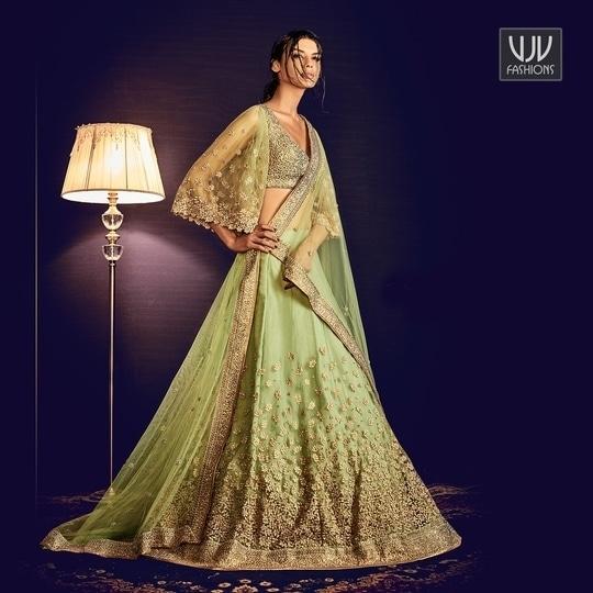 Buy Now @ https://goo.gl/Vc8jQd  Arresting Green Net Embroidered Work A Line Lehenga Choli  Fabric- Net  Product No 👉 VJV-NAKK5064  @ www.vjvfashions.com #lehengas