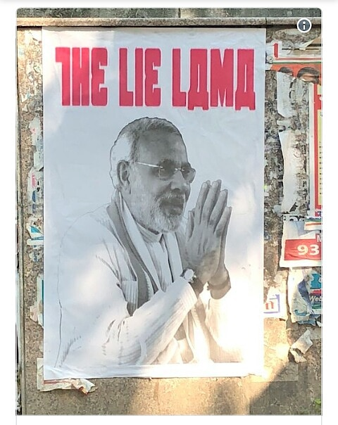 """PM Modi Targeted With 'The Lie Lama' Posters, Delhi Cops Launch Lookout..  The police registered a case last night after removing the """"The Lie Lama"""" posters attacking PM Narendra Modi from Delhi's Mandir Marg area.  #news #nationspeaks #narendramodi"""