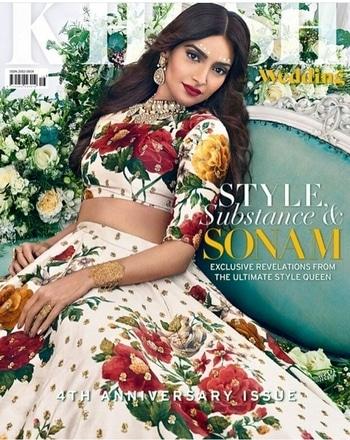 Sonam Kapoor on Khush Wedding Magazine Outfit-Sabyasachi Jewelery-Red Dot Hair & Makeup-Gini Bhogal Editor-in-chief-Sonia Ullah Creative Director-Manni Sahota Fashion Editor-Vikas Rattu Photographed by-Paul Farnham