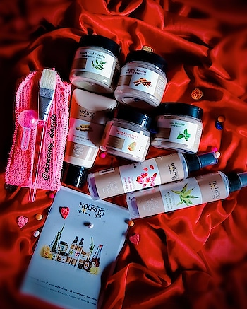 """Hello dolls😘💞 Welcome back to my blog!How is your day going? hope you guys are doing well! Here I have the """"HOLISTIC TATVA SKIN CARE KIT""""review for you lovelies! ActuallyI personally don't like chemical based skin care products for my skin. I always prefer harbal and natural products for myself & I m sure many of you also like me....Few days ago I received holistic Tatva skin care kit...👇 ___________________ 🌿Holistic Tatva Purifying Multani Mitti Mask. Rs. 225/- 100 ml 🌿Holistic Tatv Revitalizing Rose🌹 water. Rs. 225/- 100 ml 🌿Holistic Tatv Revitalizing Aloevera water. Rs. 275/- 100 ml 🌿Holistic Tatv Licorice Powder. Rs. 275/- 40 gm 🌿Holistic Tatv Orange peel Powder. Rs.225/- 40 gm 🌿Holistic Tatv Neem leaf powder Rs. 225/- 40 gm 🌿Holistic Tatv Tulsi powder Re. 225/- 40 gm 🌿Usage booklet 🌿Complementary 3 pc Face Mask Kit ( measuring scoop, facial band and mask application brush) Total kit PRICE 950/- (but this kit easily available on Amazon and filpkart some discounts) ___________________ ABOUT THIS PRODUCT KIT➡️ This kit daily-weekly care set is curated to revive dull, tanned, pigmented-patchy skin. Using active ingredients from nature, this Radiant Skin Essential combo, will help in clearing blemishes, lightening pigmentation and in fading dark spots. Make it a part of your daily-weekly skin care ritual for a lighter, clearer and rejuvenated radiant skin.  FOR SKIN CONCERNS⬇️ 💕Dull 💕Tanned 💕Pigmented 💕Patchy & uneven skin tone 💕Blemish & acne-marks prone  HOW TO USE THIS KIT👇 First Wash your face with mild face wash or cleanser, & pat dry.Pull your hairs back with their facial band provided in the box.Slightly moist your face by spraying Rose water, then Squeeze Multani Mitti mask in a plastic bowl.Add ¼ scoop of Licorice powder for removing pigmentation, de-tanning and clearing acne-blemish marks.Add ¼ scoop of Orange-Lime peel powder for anti-ageing, pore minimizing and extra glow.Mix well, add little Rose water to get the right consistency.For acne-pimple contr"""