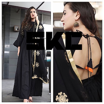 FREE SHIP ANYWHERE IN INDIA   For black lovers:: Beautiful one piece tunic dress with shiffon gold embroidery dupatta.. Febric:satin cotton Sizes:38-44  Dispatch Wednesday