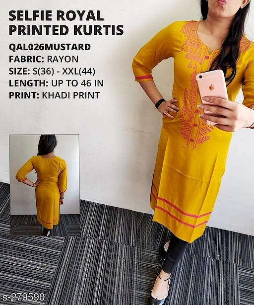 _Savor yourself in this Kurti made of unique fabric and fancy print for a casual outing or a  date. The unique design of the Kurti gives away elegance and trending style._