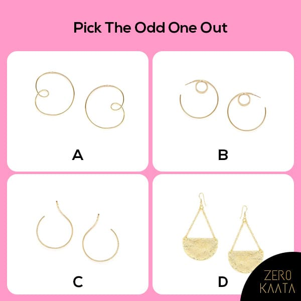 Pick the odd one out!  Which one are you going to pick? A B C D?  Comment your answer below! Let's see who all can answer correctly! 😜  #gametime #gameon #gameday #earringfashion #semipreciousgemstone #semiprecioustone #semipreciousstonejewelry #semipreciousstoneearrings #semipreciousindianjewellery #semipreciousstonejewellery #gemstonejewelry #gemstoneearrings #gemstonejewellery #uniquejewellery #oneofakindjewellery #handmadejewelrydesigner #handmadejwelery #handmadejewelryofinstagram #handmadejewely #handmadejewerlly #handmadejwellery #designerearings #designerearring #onlinejewelleryshopping #onlinejewelryshop #onlineindianjewellery