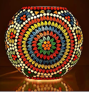 Beautiful glass mosaic lamps Colourful lamps to brighten up ur homes n offices this Diwali Grab soon #vasan  #bluepottery #diwalicollection #homedecor WA @9886066322