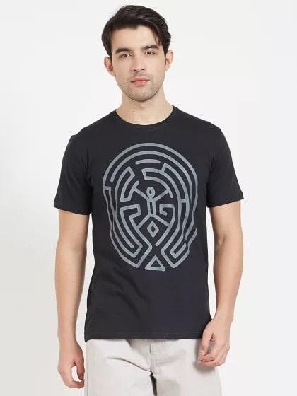 Follow The Maze Print T-shirt -- #men-fashion, #men-branded-shopping, #men-looks, #summer-style, #fashion, #Menclothing, #mens-wear, #mens-ethnic, #mens, #stylishlook, #stylewear, #men's style, #men's shirt , #mens clothing, #mens tshirt, #men#style, #casaul men outfit