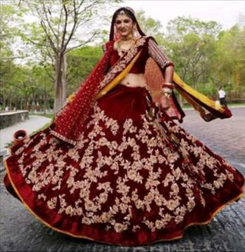 maroon velvet bridal lehenga  #lehenga #bridaldress #weddingdress  #SoRoposo #Roposo