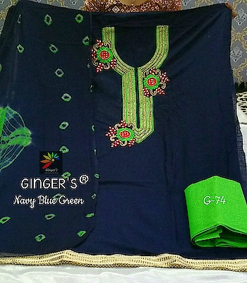 """*Biggest Sale Ever*😍  *GINGER'S ®*💕 *D.Code : G-74*💕  *Top (2.15 Mtrs)* : Handloom Cotton Heavy Handwork *Dpt (2.00 Mtrs)* : Pure Chiffon Bandhani Printed *Btm (2.30 Mtrs)* : Pure Cotton  *Height 42"""" & Fits Upto 58""""*💕  *Rate : ~899~+Shipping* *Sale Prc : 750+Shipping*✅  *PS : ORIGINAL PRODUCTS ALWAYS COMES WITH GINGER'S LOGO STICKER*😍   Direct Message us or whatsapp on 9867764381   Follow us 👉🏻on FB:  *https://www.facebook.com/Stylista-Fashionss-2137660539847810/*  #stylistafashionss #style #fashion #trend #readysuit #dressmaterial #ethnic #western #fashionjewellery  #handbags #kurti #botttomwear #onestop #shopping #saree #readymadeblouse #lookstylish #bethefashion #shopstylistafashionss #onlineshopping #bestquality #bestprice #bestbuy #swag"""