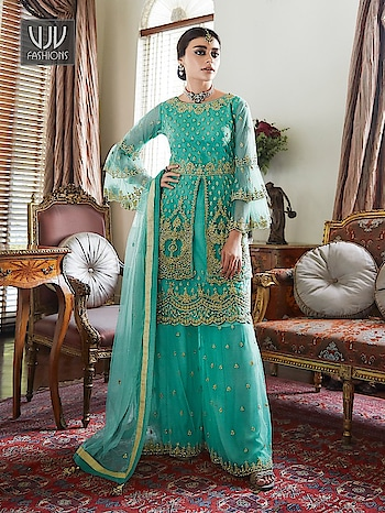 Buy Now@ https://bit.ly/2POqHaT  Superb Turquoise Color Fancy Fabric Designer Sharara Suit  Fabric - Fancy Fabric  Product No 👉 VJV-AASH7022  @ www.vjvfashions.com