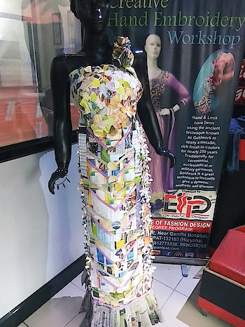 paper dress created by EIFD students at Elite Institute of fashion design #panipat #paperdress #fashionstylist #fashiononroposo #fashionexpo #fashionhacks #fairydress #paperflowers  #students #elitefashionindia