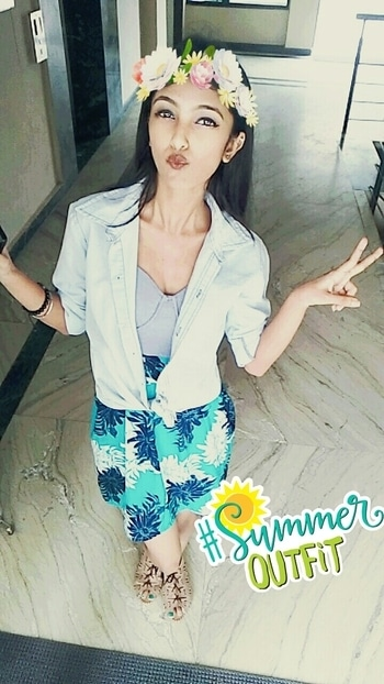 #summer outfit #styling #ropo-style #summer-style #blue-floral dress #bluedenimshirt #ropososticker #ropolike #ropo-love 😉 #summeroutfit