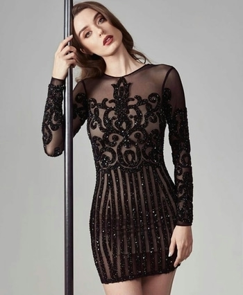 Black beauty #minidress #sheer #lace #embroidered #sequindress #elegant