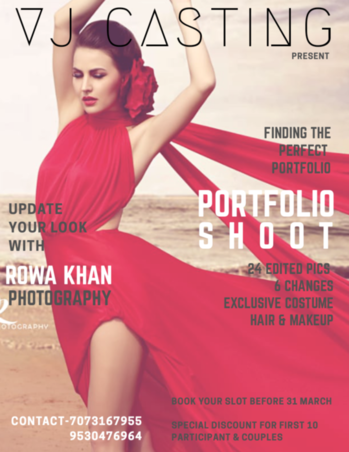 Vj Casting presents  #portfolioshoot with Celebrity photographer @rowakhan  Book your slot before 31st March.  Special Discount for first 10 participants & couple.    #fashion #style #stylish #photooftheday #instagood #instafashion #beautiful #model #girl #sexy #portrait #pretty #summer #glamour #nature #people #young #skin #hair #hairstyle #instahair #hairfashion #cute #brunette #elegant  We do create magics in photography, ( Hair +Makeup + Exclusive Costumes ), 24 Edited Pics | 6Changes, Perfect portfolio can change the way people look at you! 😍😍 Vj Casting offers top quality services in fashion, portfolios📷, pre-wedding and much more! Enjoy star treatment by makeup artist 💄and hair dresser 💇. Get a chance to pose in the beautiful dresses designed exclusively by designer. Contact us today!! ❤ 7073167955, 9530476964