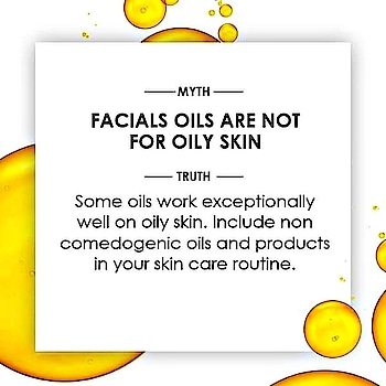 Oily skin requires pampering but with different products. Are you tired of hearing these myths about oily skin? #knowyourskin  #mythbusters  #beautymyths  #beauty  #skincare  #oilyskin