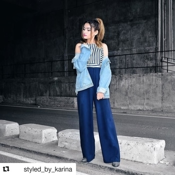 #Repost @styled_by_karina with @repostapp ・・・ I love tying knots between chic and androgynous💙 Goodnight from me and this super gorgeous wide-legged jumpsuit from @dealjeans 💋 . #DealJeans #Jumpsuit #Stripes #Navy #NavyBlue #Blue #Wiw #Ootd