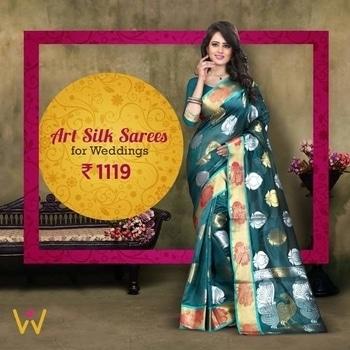 Flatter your look with this glamorous lightweight Art Silk Saree from WedLista.com!  SHOP NOW: http://bit.ly/SareesByWedLista  #WedLista #FashionForWeddings #artsilksaree #sareestyle #sareeday #weddingseason #onlineshop #ropo-love