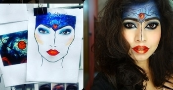 Facechart recreation 😁  This facechart had made it to the board of @fatmupromakeup HQ.. Feels so good recreating it.. It's far from being perfect, but I can always try again to make it better 😊 .  #facechart  #facechartrecreation #facecharts #facechartmakeup #avantgarde  #experimentalmakeup #experimentingwithmakeup #makeup  #makeuplover #makeupartist #makeupartistindia  #makeupschool  #funwithmakeup  #funwithcolor #facepaint  #paintinginspired #paintinginspiredmakeup #makeupgoals  #passion #passionforfashion  #roposo #roposostyle  #makeuplove #makeuppassion