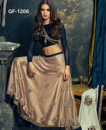 lehenga choli blouse - Georgette / velvet lehenga - Georgette / velvet / emb work dupatta - Georgette / emb work /2.75mtr.  length-42  size -not 42  gher - 5.5 mtr.   semi stitched   COD AVAILABLE