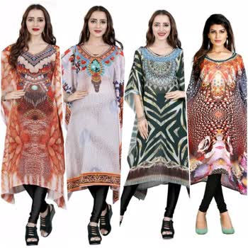 Trendy Georgette Kaftan Fabric: Georgette 550 Only Sleeves:  3/4 Sleeves Are Included  Size: L- 40 in XL- 42 in XXL- 44 in  Length: Up To  40 in             Type: Stitched  Description: It Has 1 Piece of Women's Kaftan  Work: Printed Country of Origin: India