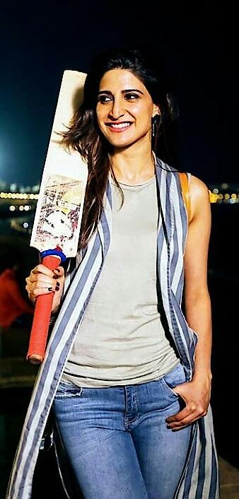 #top #jeans #dupatta ahnakumra poses with #cricket bat #fashionquotient