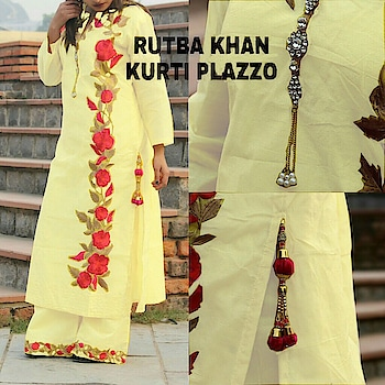 price:1450/- *Kurti With Plazo*  Fabric: *Kurti* : Stitched Emb Chanderj Fabric Kurti With Linning Having Beautiful Broch In NeckLine And Tussels On Slit  *Size* :42-44  *Accessoties* : Tussels,Broch  *Plazo* : Stitched Emb Chanderi Fabric Plazo (With Linning)