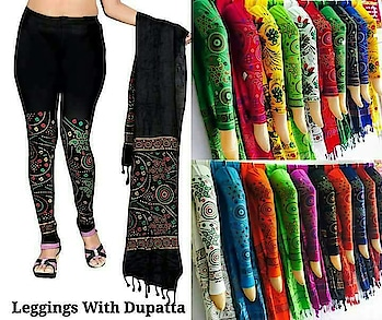 *OUTERWEAR* PRINTED COTTON LEGGINGS WITH DUPATTA XL XXL @350 Ayy1207.   WhatsApp to order at AsliFashion 8374801669  #aslifashion #bottomwear #cottonleggings #printedleggings #dupattacombo