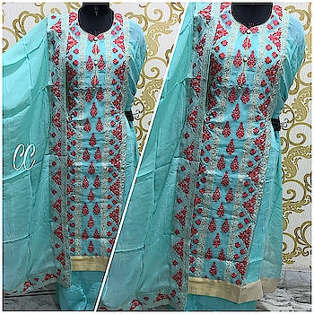 PURE JORJERT TOP WITH THREAD WORK SEMI STITCHED SIZE UPTO 50 BOTTOM SATTON  PURE CHIFFION DUPPTA WITH FOUR SIDE BORDER WORK 👌👌👌👌👌👌👌👌👌👌  MRP *2100+$* For booking contact at 8790064509