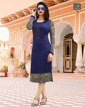 Buy Now @ http://bit.ly/VJV-TWIN35346  Prachi Desai Blue Satin Stone And Print Work Kurti  Fabric- Satin  Product No 👉  VJV-TWIN35346   @ www.vjvfashions.com