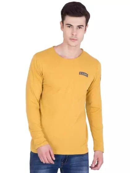 Mustard Slim Fit Full Sleeve T-shirt -- #men-fashion, #men-branded-shopping, #men-looks, #summer-style, #fashion, #Menclothing, #mens-wear, #mens-ethnic, #mens, #stylishlook, #stylewear, #men's style, #men's shirt , #mens clothing, #mens tshirt, #men#style, #casaul men outfit