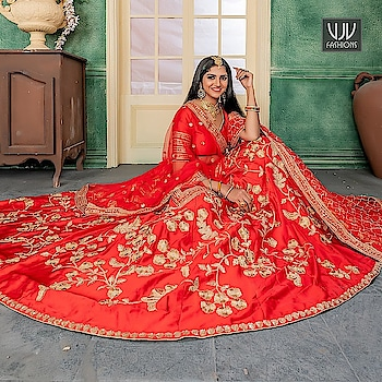 Buy Now @ http://bit.ly/VJV-PEAF11192  Auspicious Red Color Satin Designer Lehenga Choli  Fabric- Satin  Product No 👉  VJV-PEAF11192   @ www.vjvfashions.com