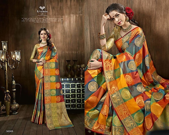 """Brand- *Triveni* CATALOGUE: *Susmita*  *Singles:2225/pc*  FEBRIC: *Soft Silk Saree*  *READY STOCK* 💯% orignal product✅ 👉Prices inclusive of GST Tax 👉Sorry but No COD available 👉Payment modes - cash/cheque deposit// netbanking// creditcard// debit card payments/ western union / paypal/ payumoney/paytm 👉Free 🆓 delivery in India 👉Worldwide shipping available( Feel free to ask us shipping rates for your country) 👉Stitching as per measurement ( Tailoring) available with us. 👉To order whatsapp or Imo on 0091-9004659896 👉Call/sms/viber/tango on 00971-557204351 👉Skype Id - rooshfab 👉Follow us on www.facebook.com/olayla123 👉Instagram - olayla online boutique 👉For How to order kindly check on https://www.facebook.com/notes/o-layla-online-boutique/ 👉how-to-book-your-order-with-o-layla-online-boutique-/545844065509296  👉For return policies kindly check on  https://www.facebook.com/notes/o-layla-online-boutique/returns-and-refund-policy-with-o-layla-online-boutique/868169839943382 👉Follow us on http://www.roposo.com/@olayla 👉To register for regular collection updates on whatsapp, drop us a whatsapp message on 0091-9004659896 with your name and city and text - """"Add Me"""""""