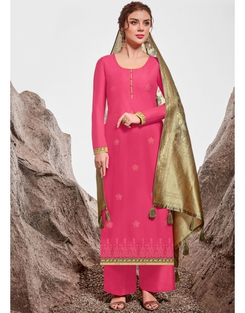"""Steal the spotlight no matter where you go with #Pink casual wear style suit @www.manndola.com  Grab Up To 65% OFF. Get additional 10% OFF on all orders above $199 using code EXTRA10 & extra 15% OFF on all orders above $299 by using code EXTRA15 !!    Upgrade you festival collection with this Lovely Pink and Golden Partywear A-Line Straight Cut Salwar Suit. The Product is from Catalogue Floral """" Akira """". Make a Classy statement with this Lovely Pink and Golden Partywear A-Line Straight Cut Salwar Suit . This Beautiful Suit comes with Outstanding Embroidered nylon chanderi Top with Matching Dyed Cotton Satin Bottom, and stunning dyed jacquard with tassels dupatta.  #newarrivals #newlaunch #casualwearsalwarkameez  #salwarkameez  #net #shoponlinenow #embroidery   #cotton #style #photography #instamood #instaupload #fashion #indianfashion #ethnic #usa #india #canada #australia #dubai #uae #mauritius #london #uk #netherlands #paris #shoponlinestore"""