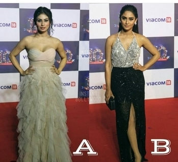 """which you prefer? mouni roy""""s light pink mermaid maxi.,  krystle crop top with a slit skirt. OR  Jennifer winget dark plum gown.."""