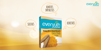 Brighten up your skin with Everyuth Naturals Haldi Chandan face pack! It will help you get rid of impurities and leave you with healthy, soft skin! #skincare #skincareroutine #facemasks #natutalskincare #naturalskincareproducts #beauty #beautytip #beautyregime #loveyourskin