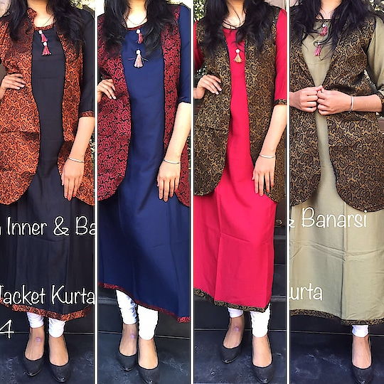 *💕Ryon Long Jacket Kurta💕*  *D.No:- 542*🌸   🔸 *🌺Single Psc:- ₹799/-*🌼🌺  Ready to dispatch....🌷 In one set 4 colour will come SM