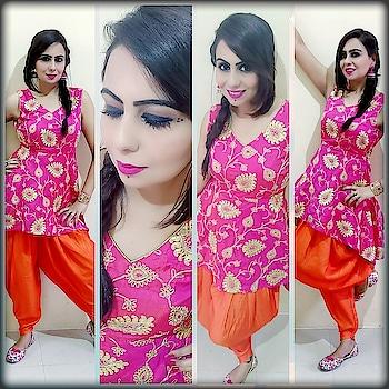 DAY9...NAVRATRI LOOK. ..COLOUR OF THE DAY. ..PINK💗💗 LAST LOOK OF THE NAVRATRI FESTIVAL 💕 Styling it with low-high Peplum kurti with Dhoti pants and Jutti 💕💕 #day #colouroftheday #navratrilookbook #pink #pinkpeplum #peplumtop #orange #dhotipants #punjabijutti #pinklips #pink_jhumkas #fishtailbraid #kajaleyes #eyemakeup #style-file #fashionblogger #styleblogger #makeupblogger #mumbaiblogger #stylegoals #fashionista
