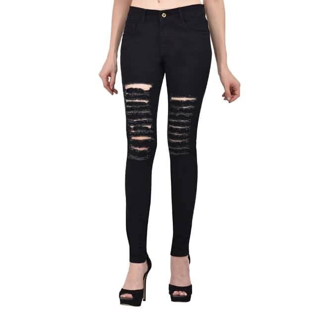 Denim Black Skinny Fit Rugged Jeans  Tag your friends who also need this..! . Color : Black Fabric : Denim  Size : 28, 30, 32, 34 inch . Delivery : 6 - 8 business days Free and easy exchange/return up to 2 days after getting delivery if any issue  Free delivery - cash on delivery also available (All over India) For out of India delivery, just ping us.  Order now by sending a direct message..! . Contact on WhatsApp: +91 93751 77927 Follow on : facebook.com/ModeltyFashionStore . Shop more jeans on #ModeltyJeans Shop other products on #ModeltyFashion  #womenswear #womensstyle #shopaholic #indianstyle #jeans #denim #love #denimjeans #womensjeans #westernwear #clothes #apparel #clothingbrand #celebritystyle #swag #ootd #rugged #fashionaddicted #shopnow #partywear #celebritylook #fashionblogger #indianfashion #ahmedabad #onlineshop #fashion #trend #blackjeans