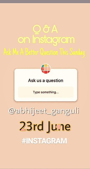 Ask me A Question this Sunday On #instagram #abhijeetganguli