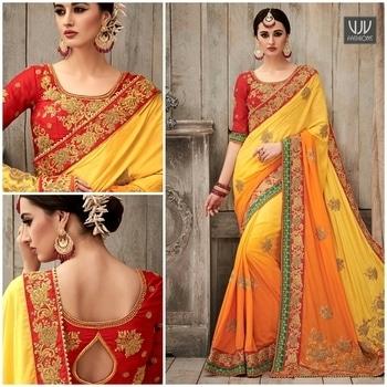 Buy Now @ https://goo.gl/neXPUE  Groovy Silk Orange And Yellow Bridal Designer Saree  Fabric- Silk  Product No 👉 VJV-PRAG50051  @ www.vjvfashions.com  #chaniyacholi #ghagracholi #indianwear #indianwedding #fashion #fashions #trends #cultures #india #womenwear #weddingwear #ethnics #clothes #clothing #indian #beautiful #lehengasaree #lehenga #indiansaree #vjvfashions #bridalwear #bridal #indiandesigner #style #stylish #bollywood #kollywood #celebrity #outfits #vjvfashions #sarees