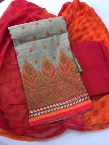 Sale pieces book fast   1355+$- chanderi shirt fully thread work, cotton bottom, chiffon printed duppata1⃣1⃣1⃣ 09793917470