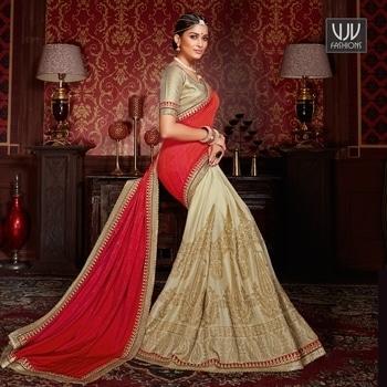 Buy Now @ https://goo.gl/59IcBz  Superlative Red Color Chiffon Designer Half N Half Saree  Fabric- Chiffon, Crepe  Product No 👉 VJV-ZEHN19121  @ www.vjvfashions.com #sarees