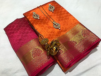 #hfh #1299 free shipping BEAUTIFUL *KANJIVARAM SILK* SAREE WITH CONTRAST *PALLU,BORDER AND BLOUSE* HAND *2D DYING*  WITH BEAUTIFUL *PENDANT BUTTI* SET *DRY CLEAN ONLY*  SINGLE & MULTIPLE AVAILABLE   COLOR CHOICE AVAILABLE   *A BEST QUALITY PRODUCT*