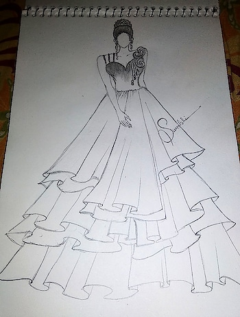 #my_creativity #mydesign #fashion_illustration #layered_evening_gown #creativespace #roposo-creativeartist
