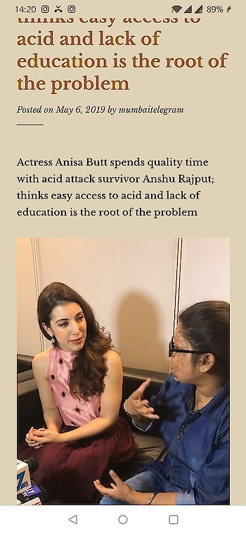 https://mumbaitelegram.wordpress.com/2019/05/06/actress-anisa-butt-spends-quality-time-with-acid-attack-survivor-anshu-rajput-thinks-easy-access-to-acid-and-lack-of-education-is-the-root-of-the-problem/