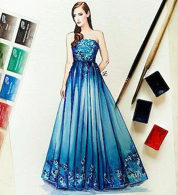 Blue gown #fashion #designerdress #gowndress #illustration #bluedress