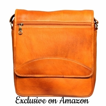 Leather World 12 Inch Rust Mango Trendy Genuine Leather Laptop Office Briefcase Messenger Cross Body Portfolio Bags for Men & Women #leather #messengerbag #officebags