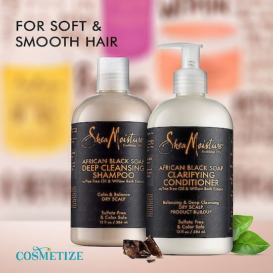 The Shea Moisture African Black Soap Shampoo & Conditioner Duo Pack is your perfect solution for a sulphate-free and all-natural formula that helps keep the scalp clean and healthy, prevents itchiness and deeply conditions resulting in soft, smooth hair.  Buy Online:  http://bit.ly/SheaMoistureAfricanBlackSoapShampoo-ConditionerDuoPack  #cosmetize #cosmetizeuk #cosmetizelife #shemoisture #sheamoistureproducts #sheamoistureafricanblacksoap #sheamoistureuk #sheabassador #sheamoisturizer #sheamoisture4u #derby #africa #unitedkingdom