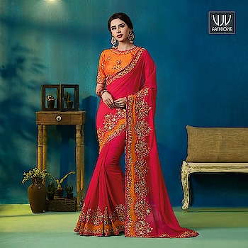 Buy Now @ http://bit.ly/VJV-KESS9309  Trendy Hot Pink Silk And Georgette Designer Saree  Fabric- Georgette, Silk  Product No 👉 VJV-KESS9309  @ www.vjvfashions.com  #saree #sarees #indianwear #indianwedding #fashion #fashions #trends #cultures #india #instagood #weddingwear #designer #ethnics #clothes #glamorous #indian #beautifulsaree #beautiful #lehengasaree #lehenga #indiansaree #vjvfashions #pretty #celebrity #bridal #sari #style #stylish #bollywood #lehengasaree