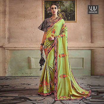 Buy Now @ http://bit.ly/VJV-YAMI32303  Auspicious Green Color Silk Traditional Designer Saree  Fabric- Silk  Product No 👉 VJV-YAMI32303   @ www.vjvfashions.com